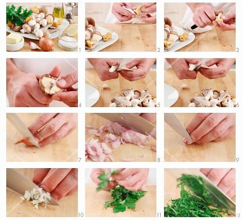 Pilze für Pilzpfanne vorbereiten
