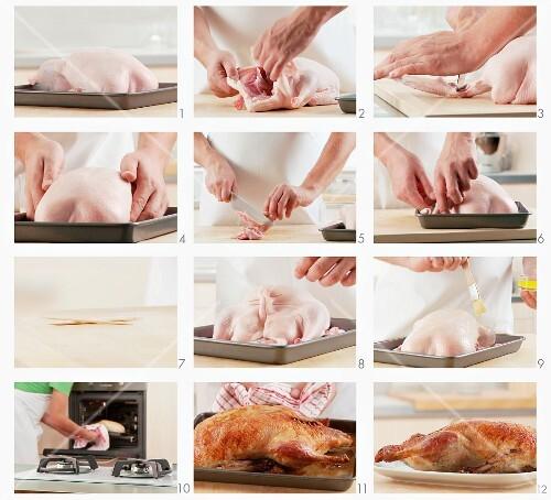 Roast duck being prepared