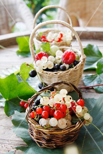 A basket of fresh berries on a garden table