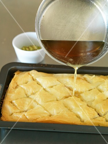 Baklava being prepared