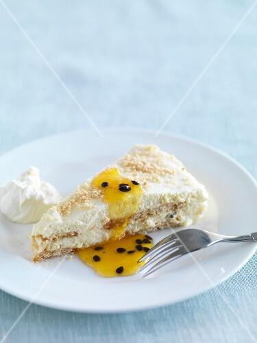 A piece of passion fruit tart