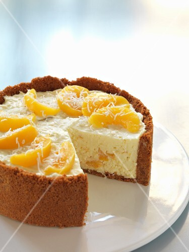 Peach and coconut cheesecake