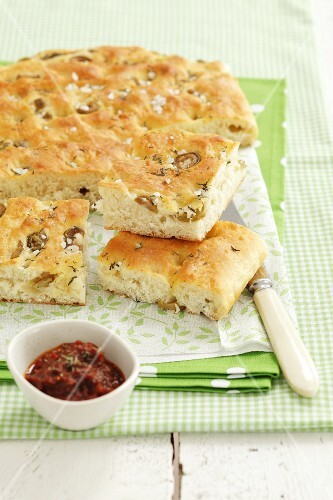 Focaccia with olives, thyme and sea salt and a dried tomato dip