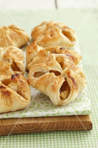 Puff pastry pockets filled with apples and bananas