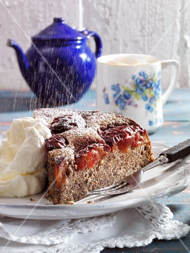 Damson and poppy seed cake