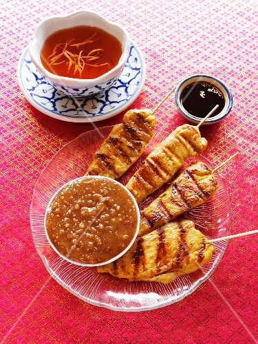 Chicken Satay with Peanut Dipping Sauce and Sweet and Sour Dipping Sauce
