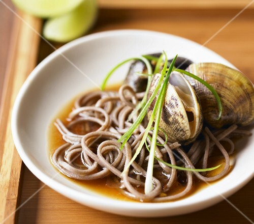 Asian Style Clams and Noodles in a Shallow Bowl