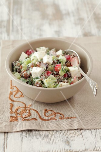 Radish salad with cucumber, quark and herbs