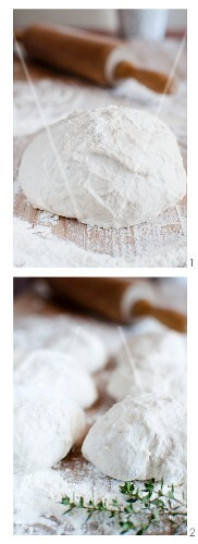 Bread dough with flour and a rolling pin