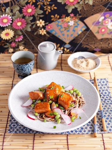Salmon salad with pasta, radishes and green soy beans (Japan)