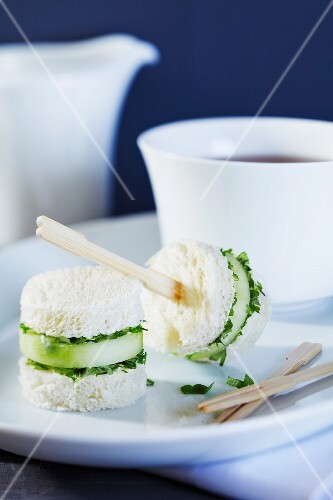 Mini cucumber sandwiches with a cup of tea