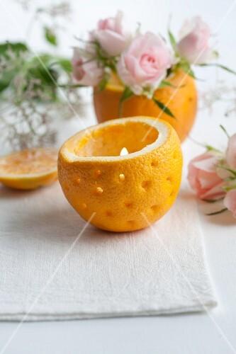 A tea light made from an orange