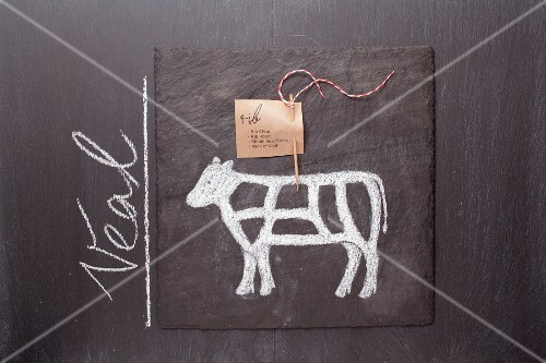A sketch of a calf and an English label on a chalkboard