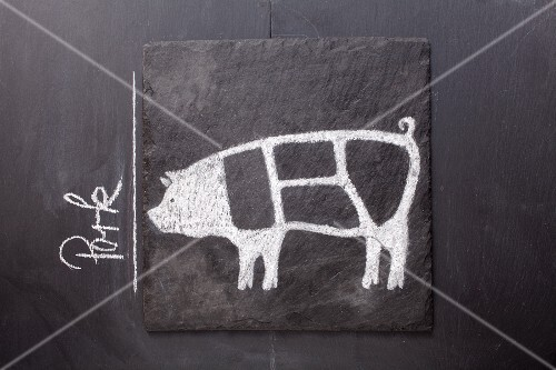 A sketch of a pig on a chalkboard