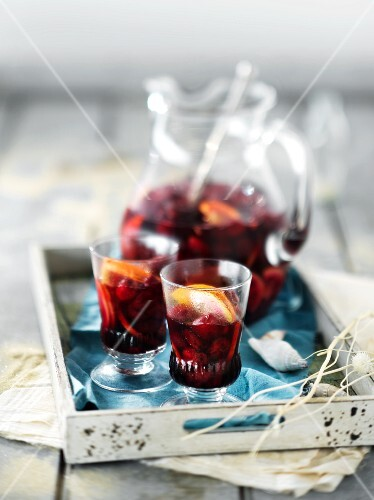 Sangria with cherries and oranges