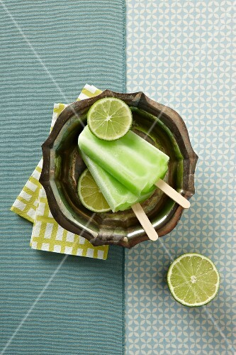 Lime Popsicles with Fresh Limes; From Above