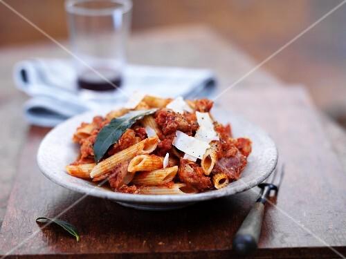 Penne pasta with wild rabbit ragout