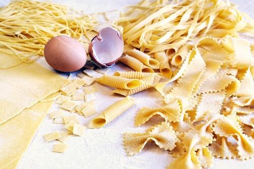 Various types of homemade egg pasta