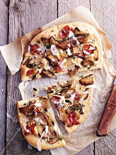 A porcini mushroom pizza