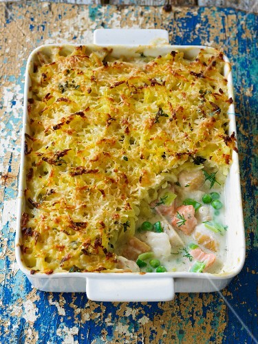 Fish pie with a potato lid