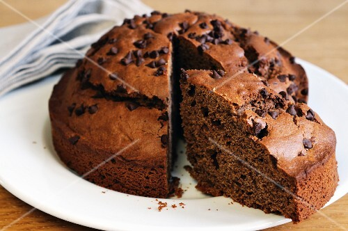 Chocolate chip cake, sliced