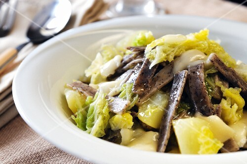 Pizzoccheri (buckwheat pasta with potatoes, cabbage and cheese, Italy)