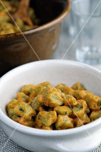 Spinach gnocchi with a creamy tomato and mascarpone sauce