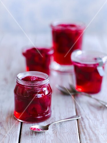 Jars of raspberry jelly