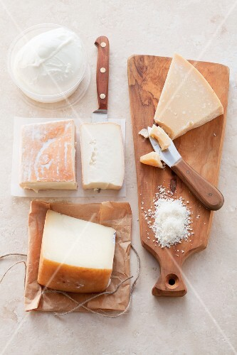 Various types of Italian cheese