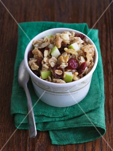 Cardboard Bowl of Oatmeal with Fruit and Nuts