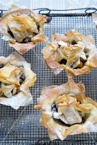 Individual Phyllo Mince Pies on a Cooling Rack