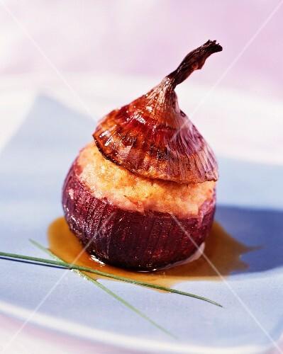 A stuffed red onion