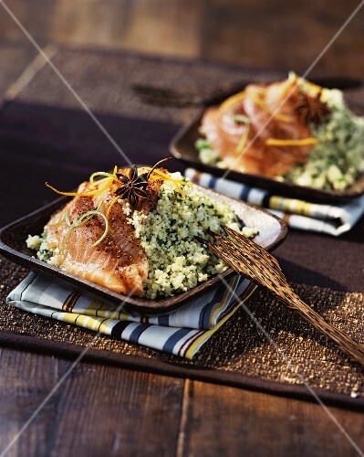 Smoked salmon on a bed of herb couscous