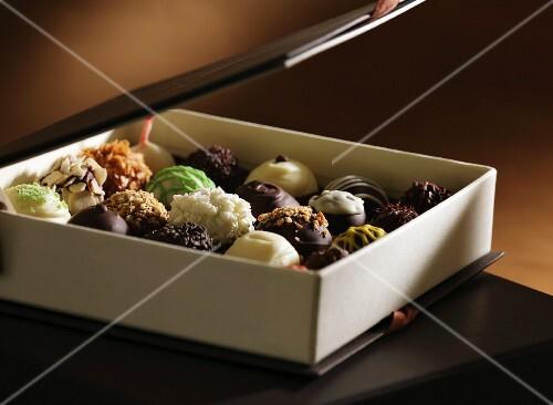 A box of various pralines