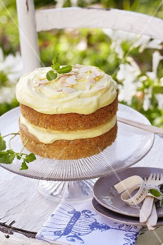 Parsnip and lemon cake with flaked almonds and lemon curd