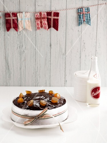 Chocolate plum cake with ginger