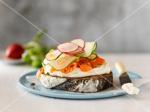 Open Face Smoked Salmon, Cream Cheese, Cucumber and Radish Sandwich