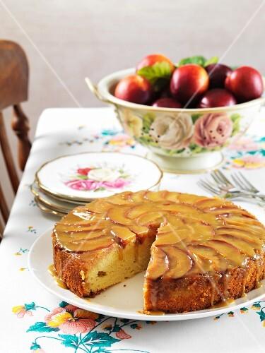 Plum cake, sliced