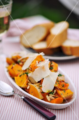Butternut squash with grated cheese