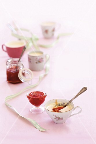 Buttermilk pudding with watermelon and rose jam