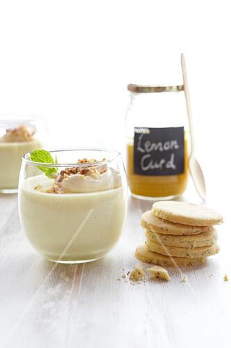 Lemon curd panna cotta with shortbread