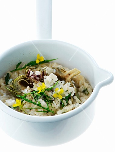 Risotto with artichokes, wild rocket and parmesan