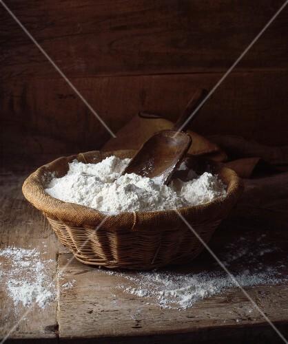 Organic flour in basket