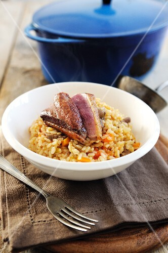 Risotto with wild duck breast