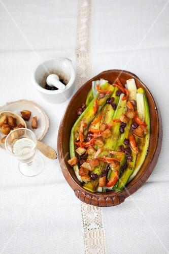 Leek salad with vinaigrette and croutons