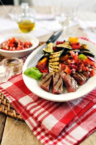 Sirloin steak with grilled Mediterranean vegetables