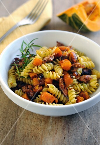Fusilli with pumpkin, sausage and rosemary