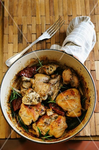Pan-fried rabbit with dried tomatoes and rosemary