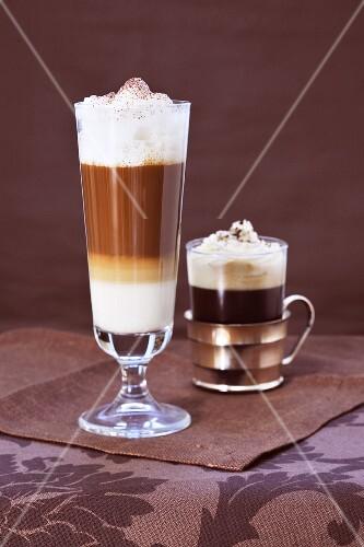 Caffe latte and an Einspänner (Austrian mocha with whipped cream)