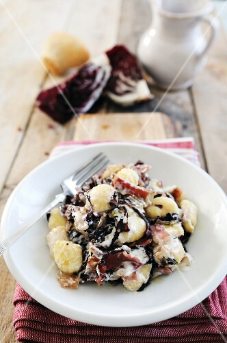 Gnocchi with a radicchio, pancetta and ricotta sauce